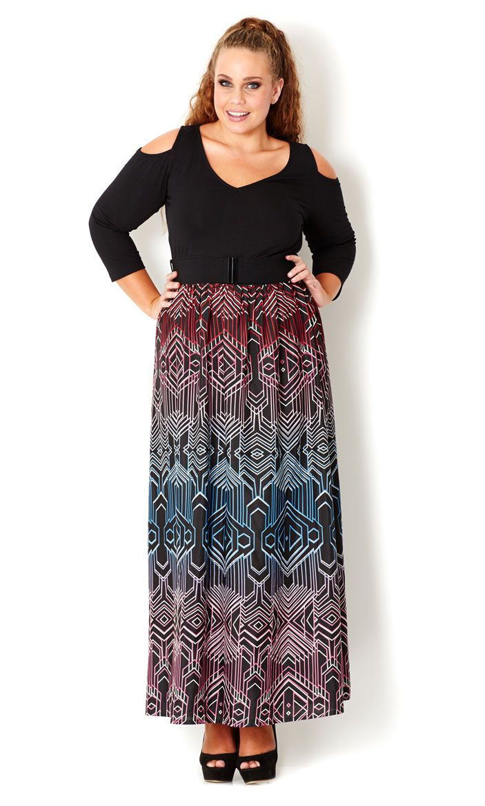 CITY CHIC - COLOURED LINES MAXI DRESS - Women s plus size fashion ... f9325ceb3fc