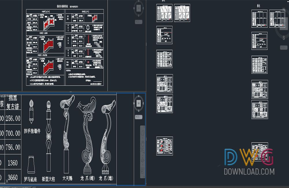 Dwg Download -Staircase Handrails Cad Blocks Detail Drawing | Free ...