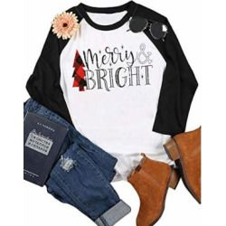 2a10559f91 Christmas T Shirts Women Long Sleeve Merry Bright Letter Print Patchwork Tee  Shirts Casual Ladies Tops Tee Shirt Size XXL (Black)