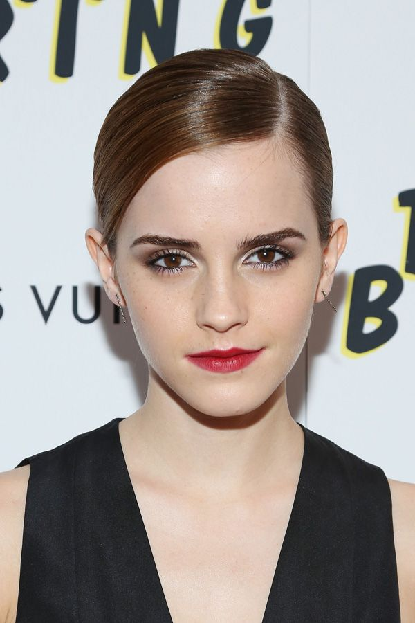 The Bling Ring New York Screening, June 2013 Emma may be better known for more romantic, tousled looks. But here, a sleek updo, sharp brows, and an ultra-defined lip make for a severe beauty moment.