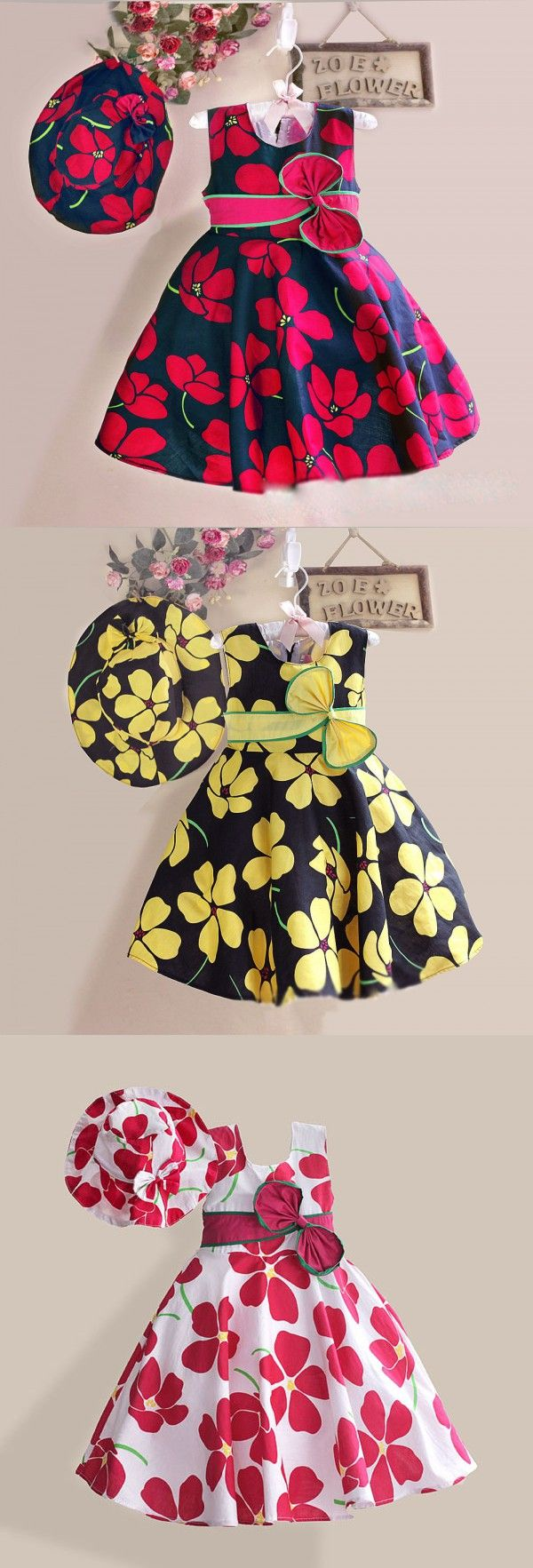 959b2c722b5a New Summer Baby Girls Floral Dress with cap European Style Designer Bow  Children Dresses Kids Clothes 3-8Y