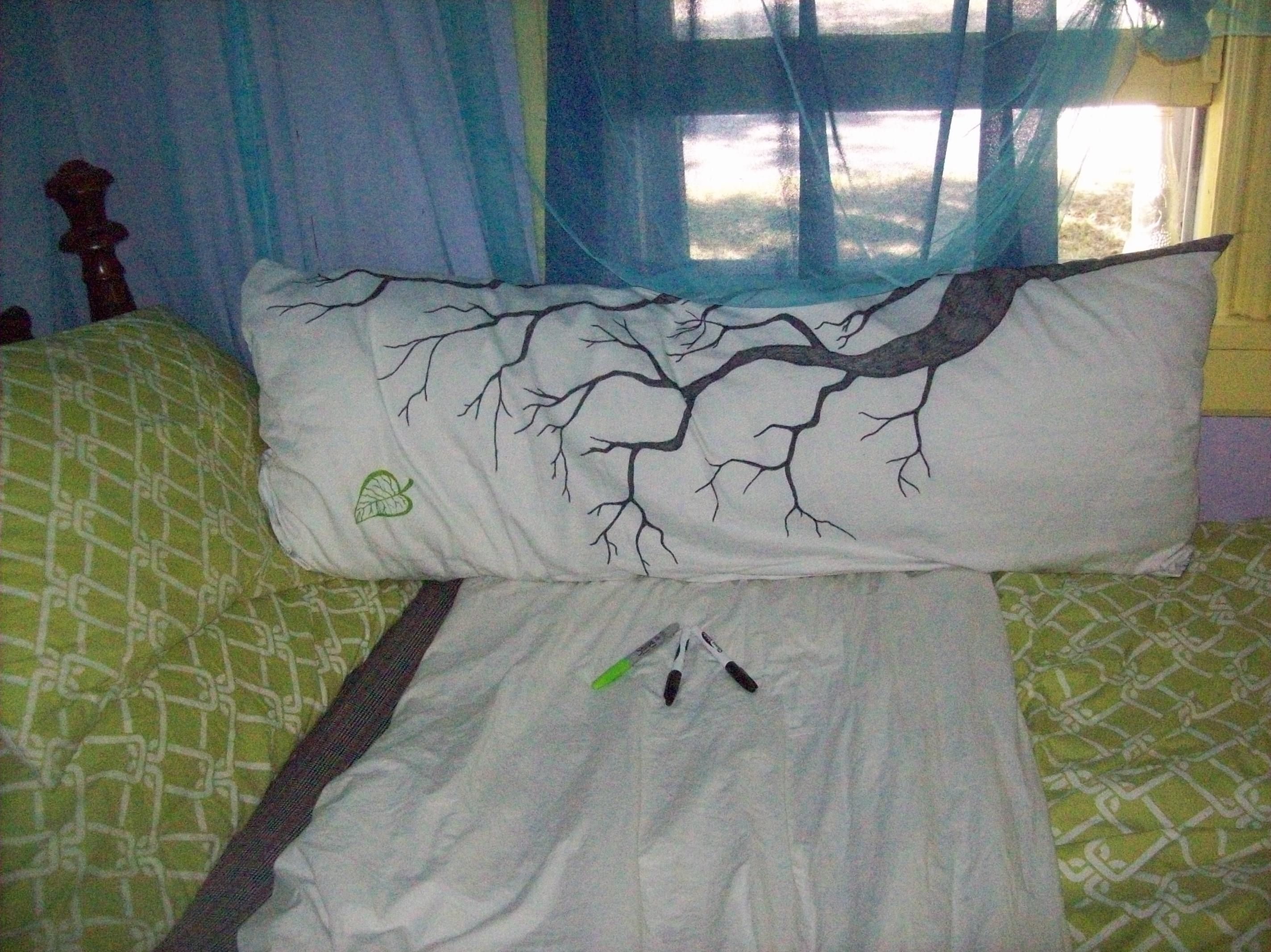 DIY body pillow cover Plain white cover decorated with Sharpie s