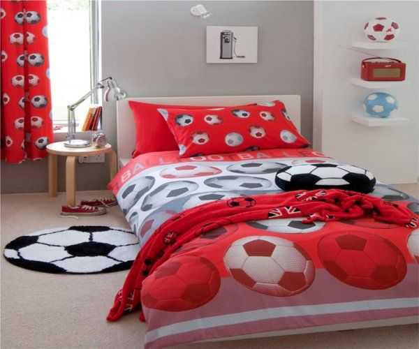 Catherine Lansfield Kids Girls Boys Tape Top Pair Fully: Boys Red Football Bedding Single & Double Duvet, Co