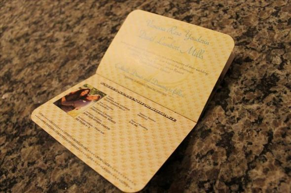 Perfect wedding invitation for a destination wedding musing information in passport form solutioingenieria Images
