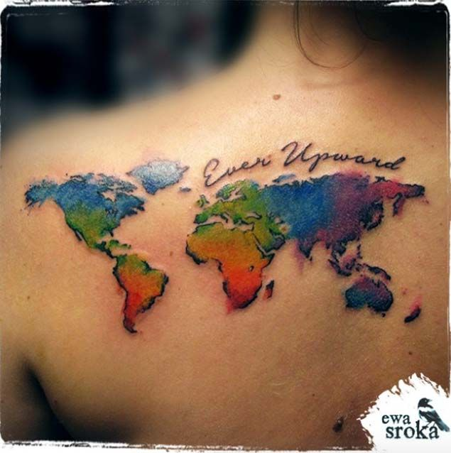 40 world map tattoos that will ignite your inner travel bug colorful world map tattoo by ewa sroka gumiabroncs Choice Image