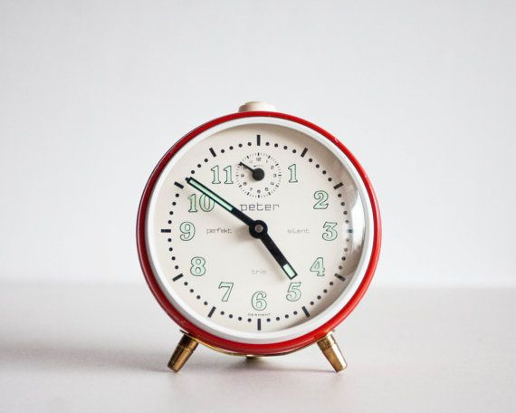 German Alarm Clock 1960s Peter Silent Trio Clock Desk Clock