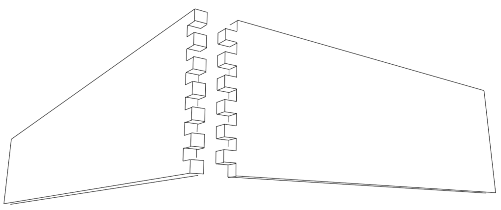 offene fingerzinkung fingerzinken holzverbindungen. Black Bedroom Furniture Sets. Home Design Ideas