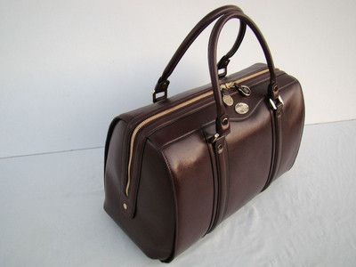 New Goldpfeil Classic Line L Burgundy Leather Doctor Bag Handbag From Germany