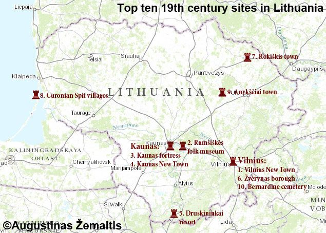 19th century itinerary in Lithuania mapMap of the top 19th century