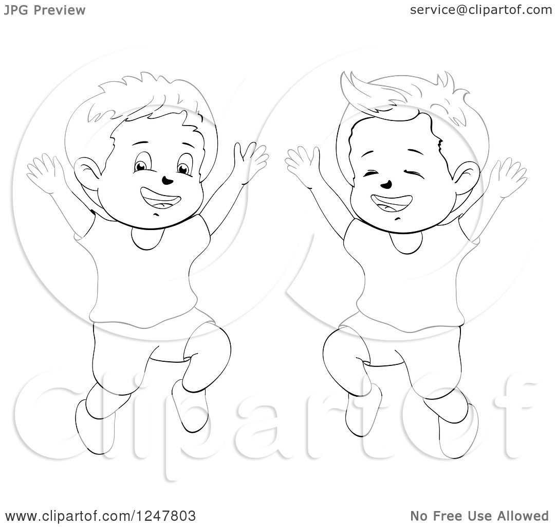 Clipart Of Black And White Happy Boys Jumping Royalty Free Vector Illustration By Merlinul Free Vector Illustration Illustration Vector Free
