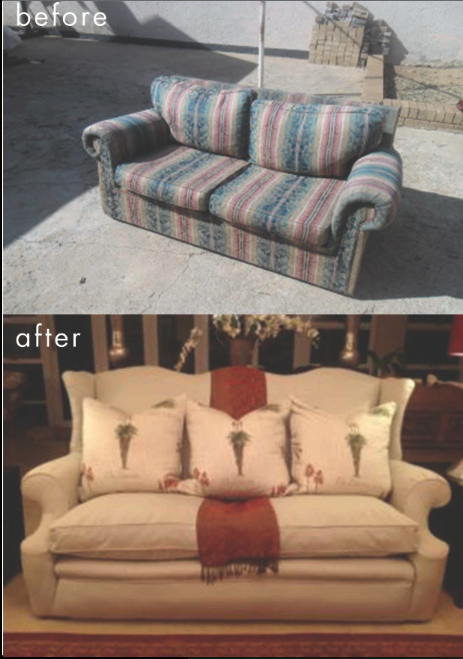Before And After Of A Refurbished Couch Bought By One Our Customers