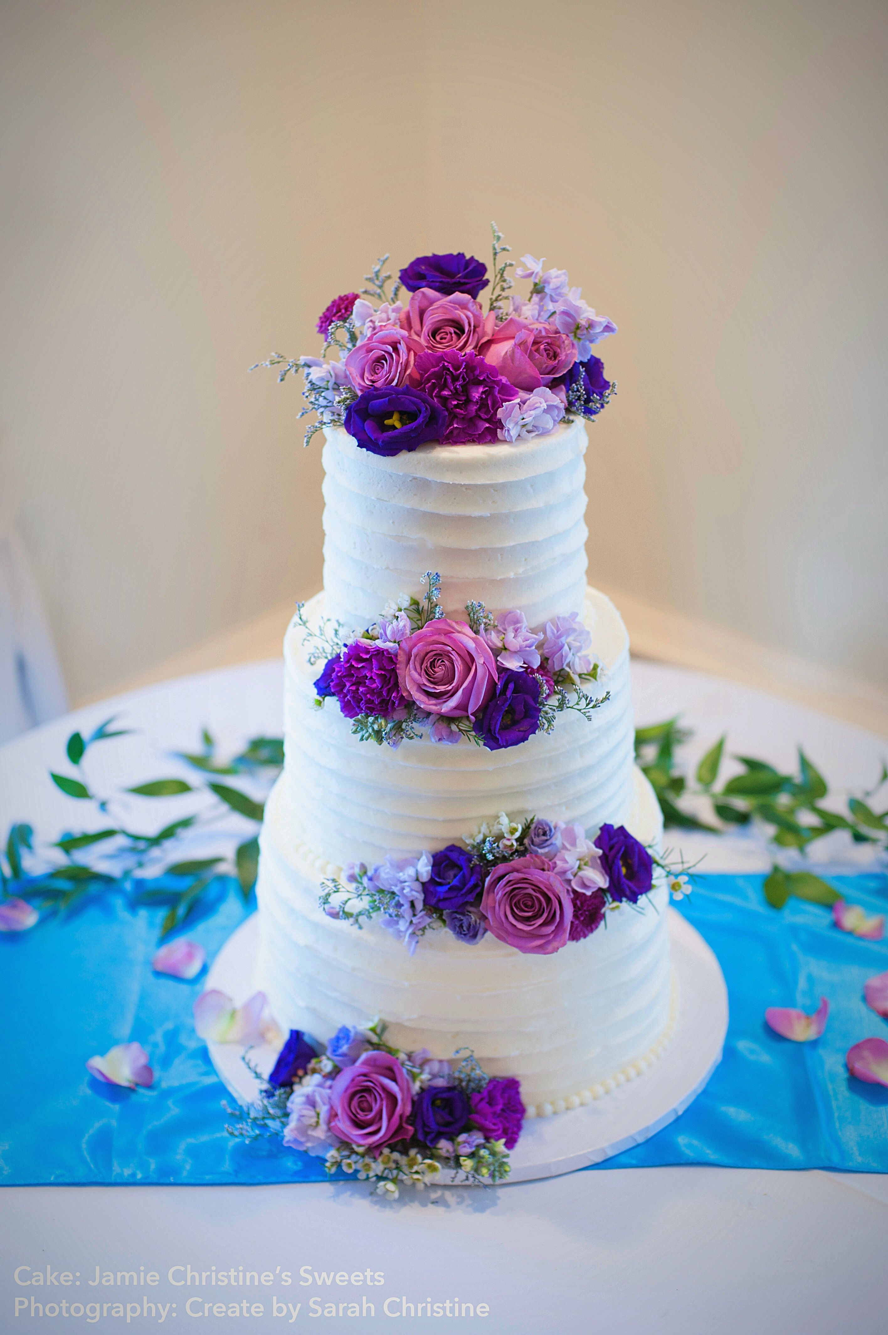 Wedding Cake Simple Elegant Purple Flowers 3 Tier White