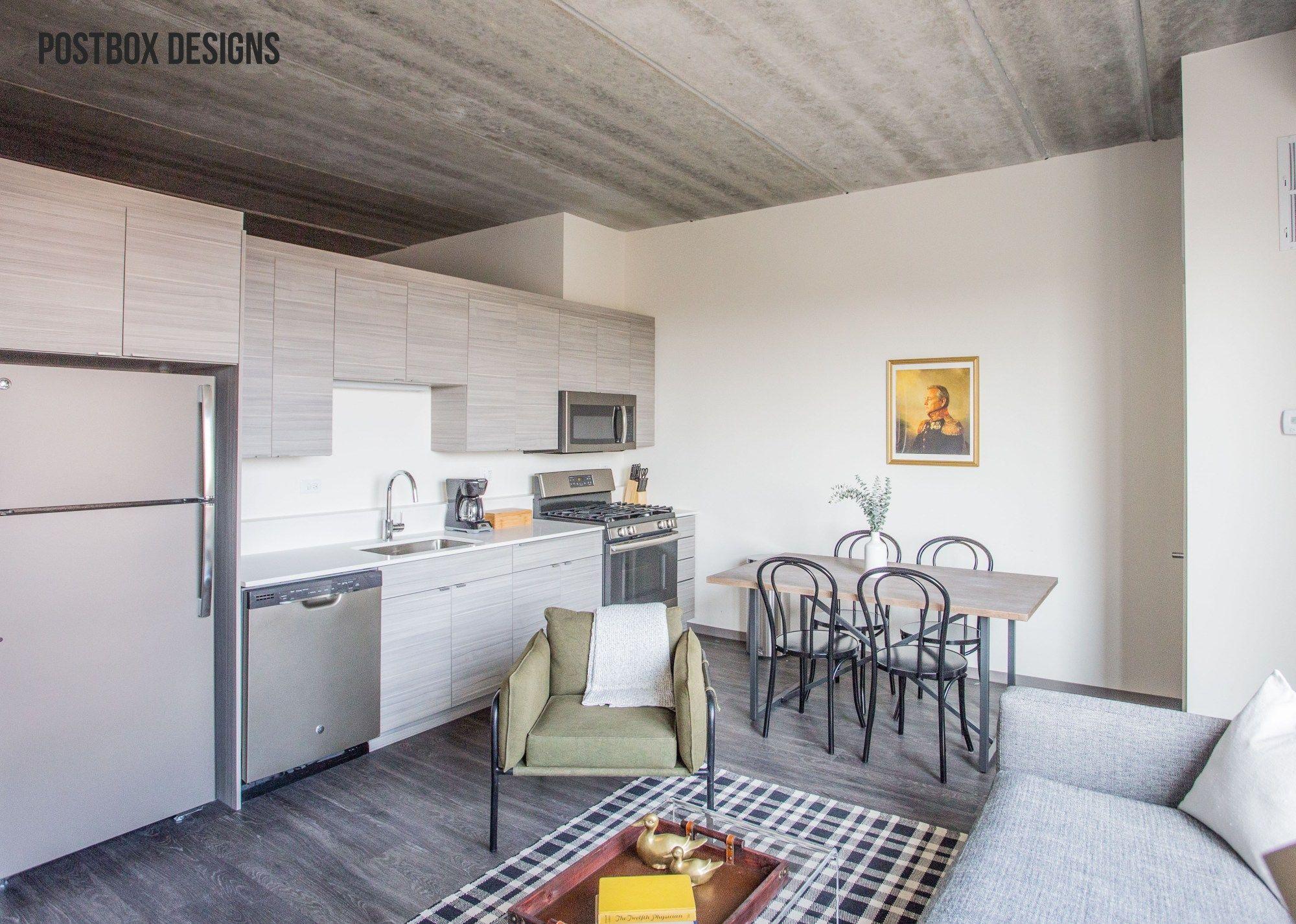 Postbox Designs: Modern Boho Living Room Kitchen Dining Room Loft via Online Interior Design for Sonder Stays #interiordesignonline & Postbox Designs: Modern Boho Living Room Kitchen Dining Room Loft ...