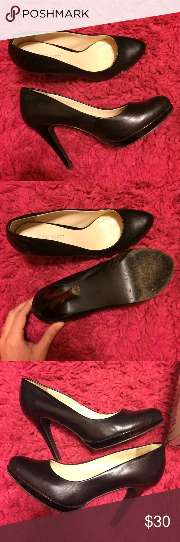 Nine West black heels Classic black pumps!!  They are beautiful and very comfortable! ❤️ Bought from another posher, I have only worn them a few times.  Very miner signs of wear, but nothing noticeable when wearing.  I try to take very good care of my shoes!!!  I think they may run a little big cause I normally wear a 6 1/2 and these are a little to big. Nine West Shoes Heels