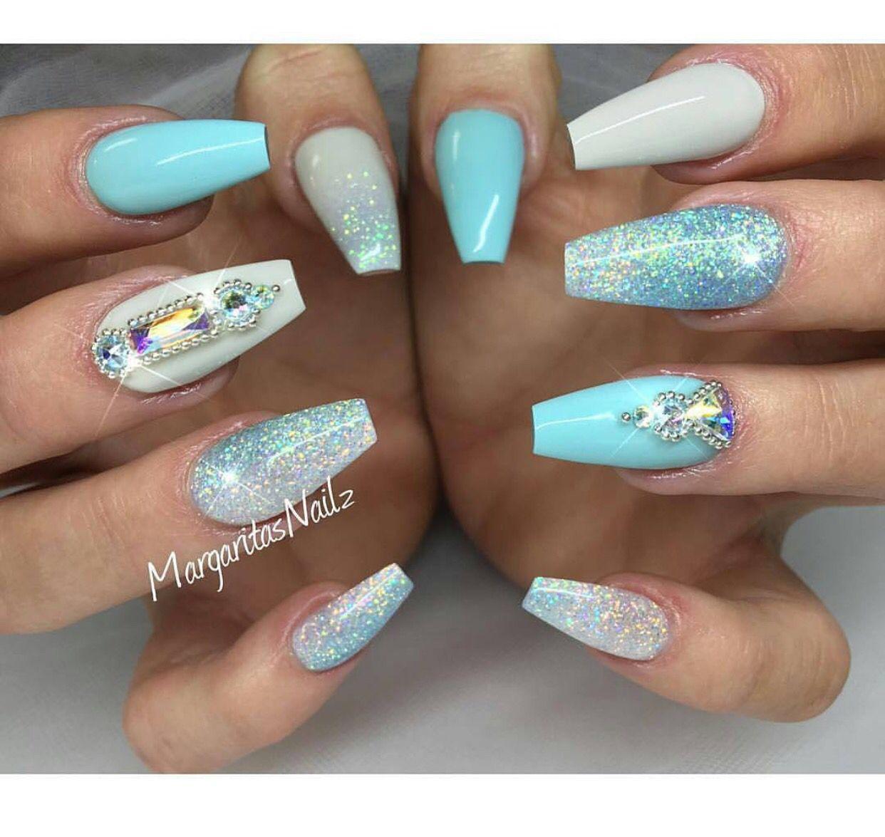 light blue ocean nails