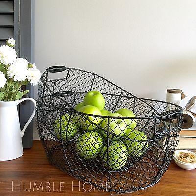 Set X2 Large Black Wire Baskets/Kitchen Storage Organisers/Metal Gift  Baskets
