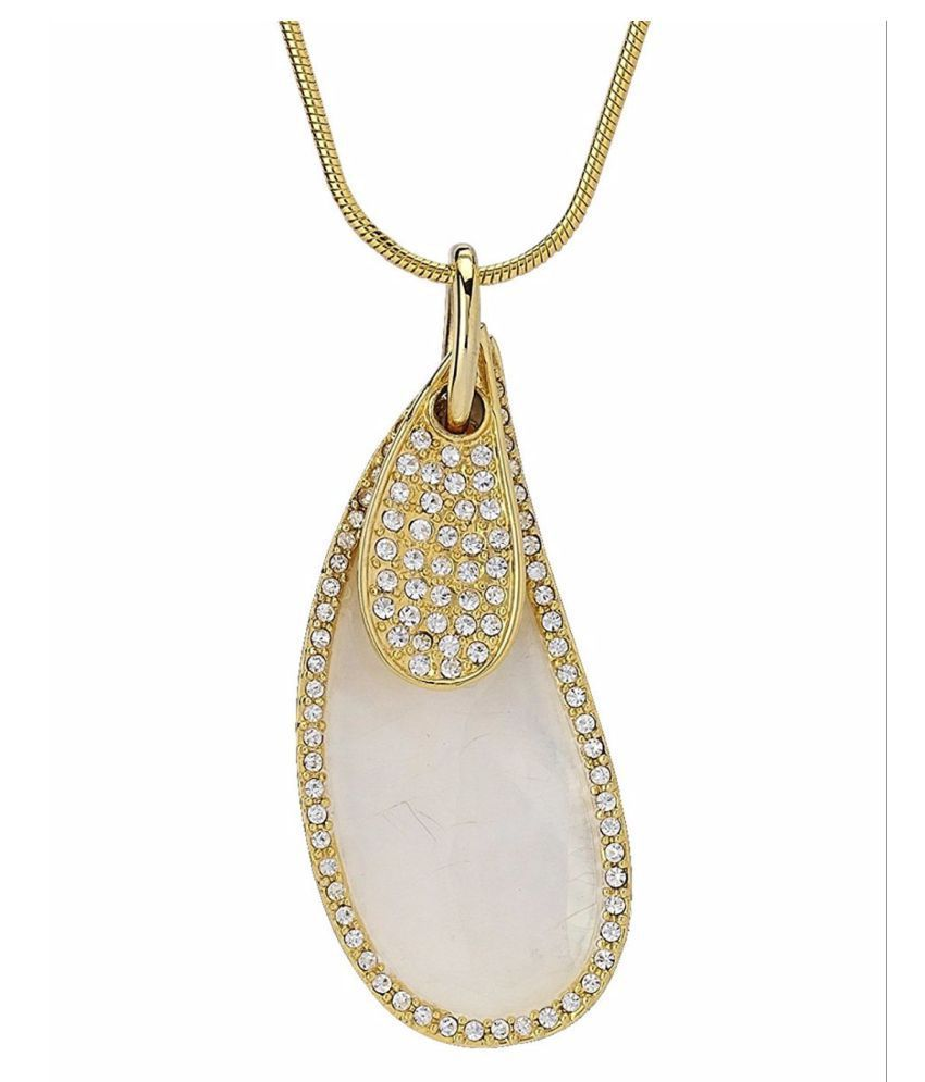 Elegant k gold plated pendant with striking mother of pearl leaf
