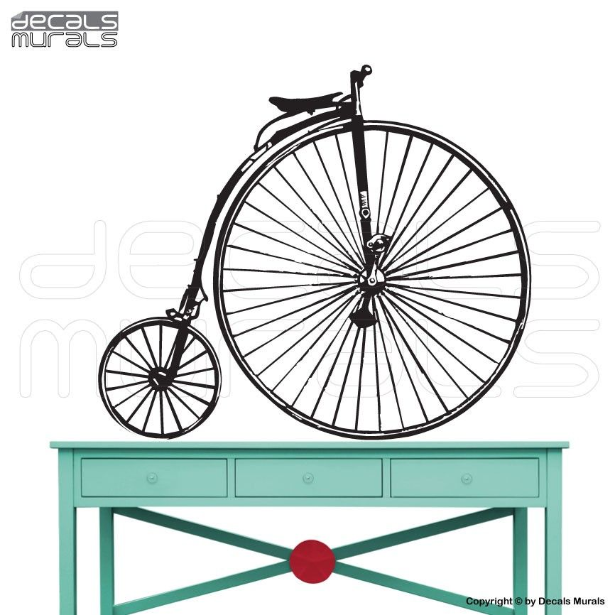 Wall Decals Victorian Bicycle Vinyl Art Wall Stickers Interior