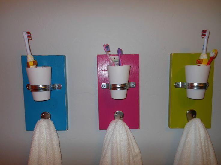 awesome kids bathroom storage ideas | 96405248245914713 Individual towel/cup/toothbrush holders ...