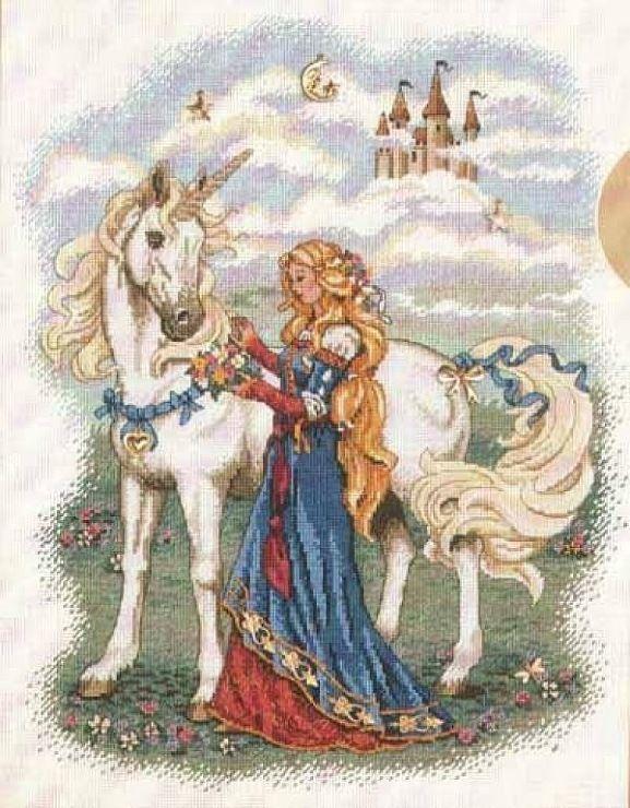 Cross stitch chart - Princess and Unicorn