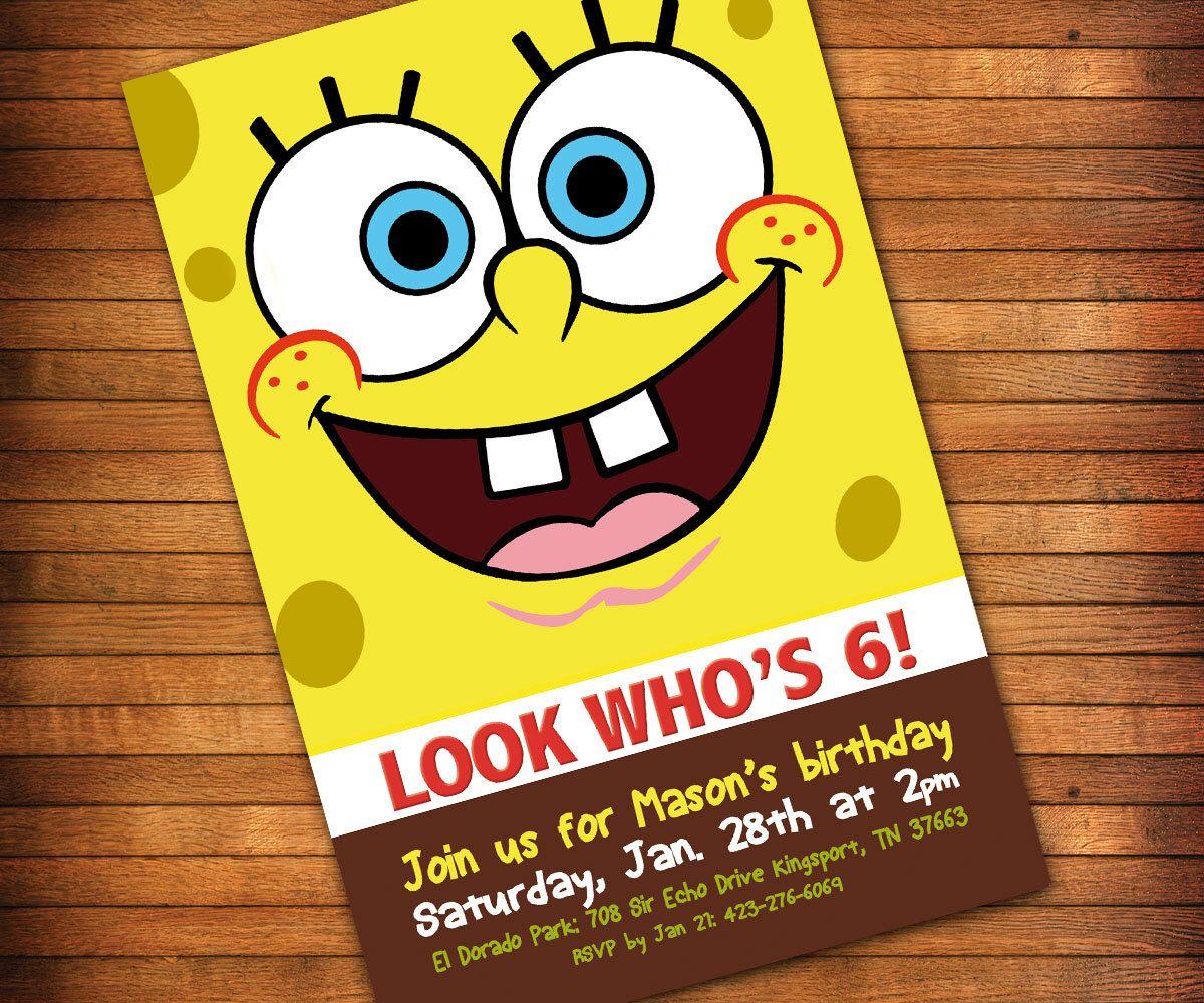 SpongeBob Birthday Party Invitation, SpongeBob Invitation, SpongeBob ...