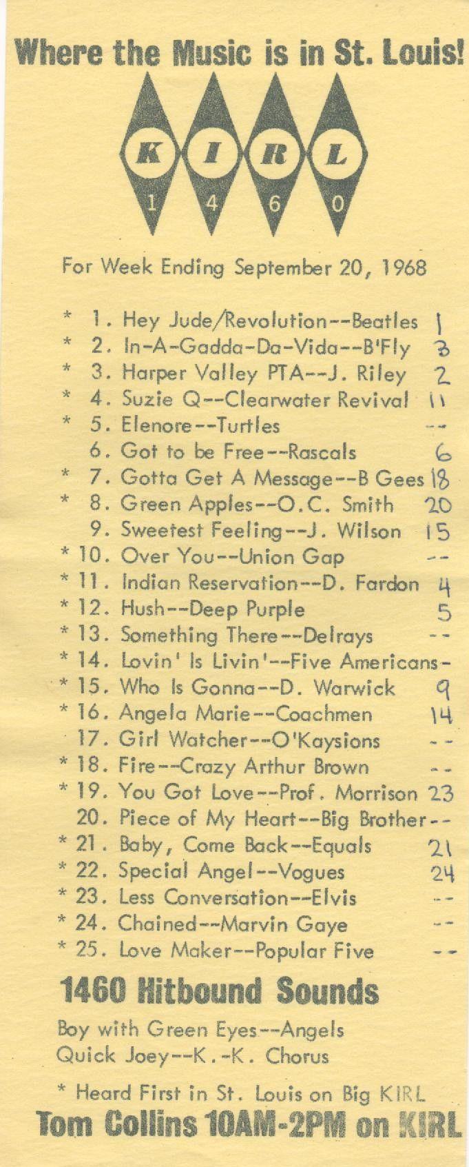 KIRL Music Radio In St Louis 1968 Songs To Sing Vintage
