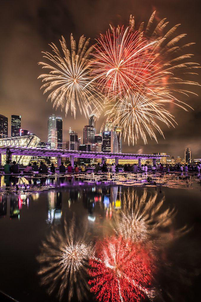 Happy New Year 2015, Marina Bay Fireworks in Reflection
