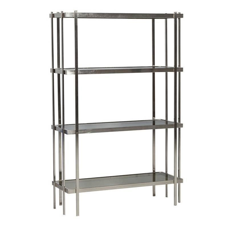 superb Brushed Nickel Etagere Part - 2: Mid-Century Modern Brushed Nickel Étagère with Smoked Glass Shelves
