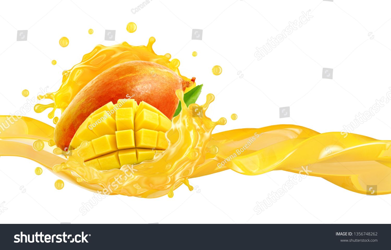 Fresh Ripe Mango Slice And Mango Juice Splash Wave Healthy Food Or Tropical Fruit Drink Liquid Ad Label Desi Tropical Fruit Drinks Mango Smoothie Mango Juice