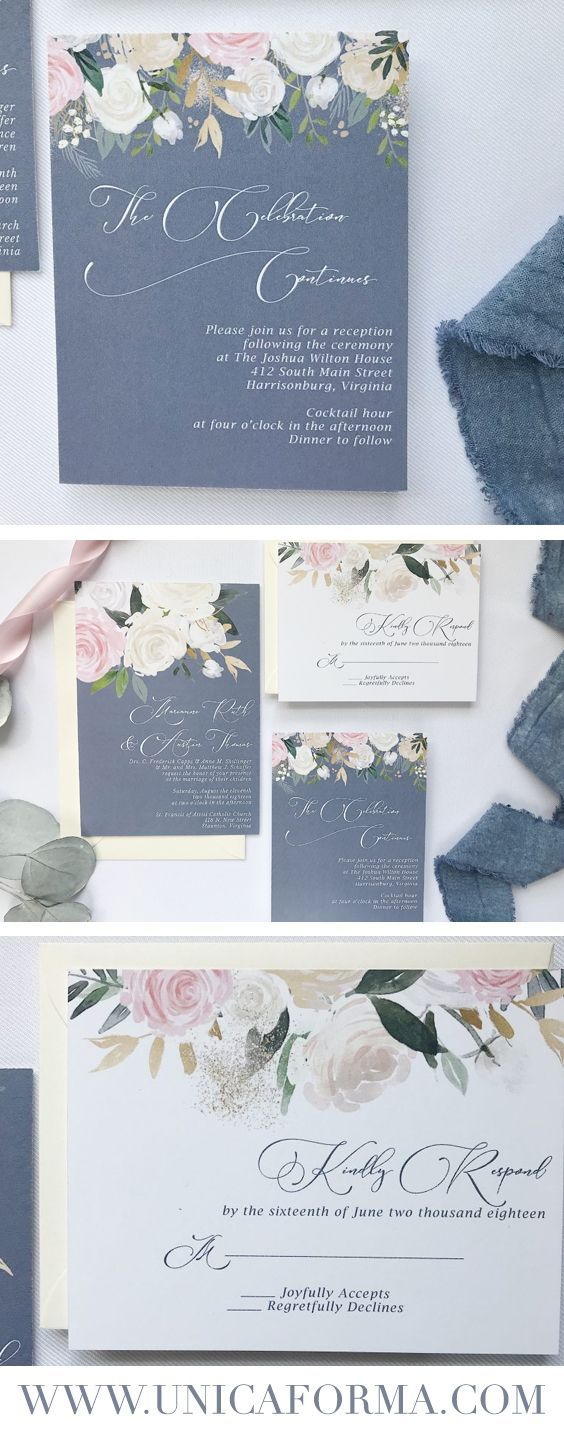 French blue and pink, blue and pink wedding invitation, custom ...