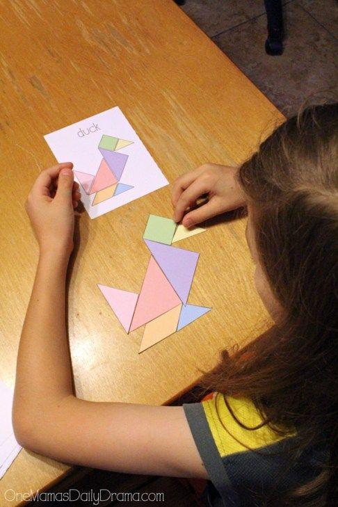 printable tangrams and challenge cards  printable games
