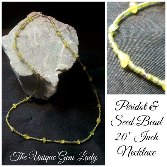 Ooak Hand Crafted Peridot And Seed Bead Beaded by TheUniqueGemLady, £6.30