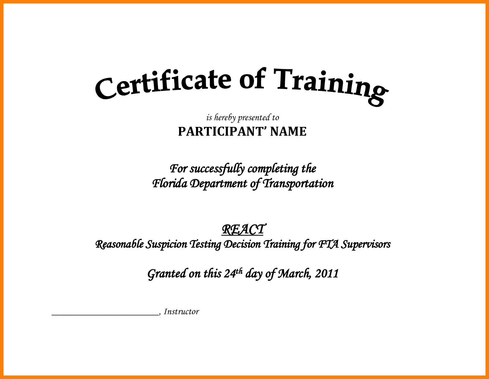 7 Free Printable Training Certificates Templates Reptile Inside Certificate Of Completion Template Certificate Of Achievement Template Training Certificate Army drivers training certificate template