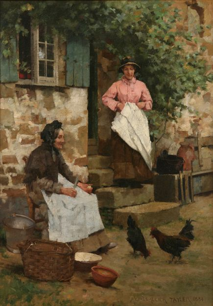 Albert Chevallier Tayler (British, 1862-1925) - Feeding Time, 1884 (oil on canvas) - Penlee House Gallery and Museum, Penzance, Cornwall (UK)