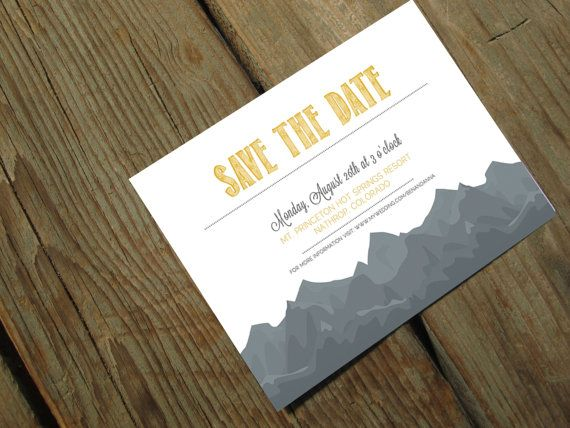 Kinkos Printing Wedding Invitations: Save The Date Postcards Mountain Wedding By