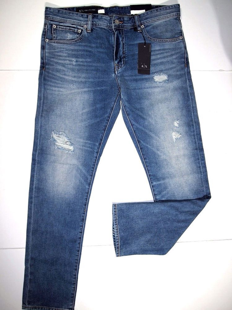 for whole family pretty cool amazing price Armani Exchange men's slim fit destructive ripped jeans size ...