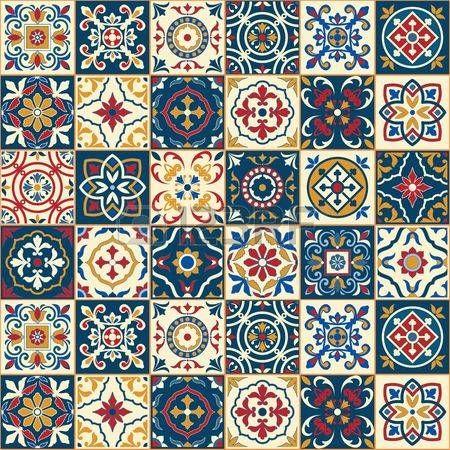 Image De La Categorie Seamless Blanc Magnifique Carreaux Portugais Marocains Colores Azulejo Ornements Peut Carreaux Portugais Papier Peint Carrelage Motif
