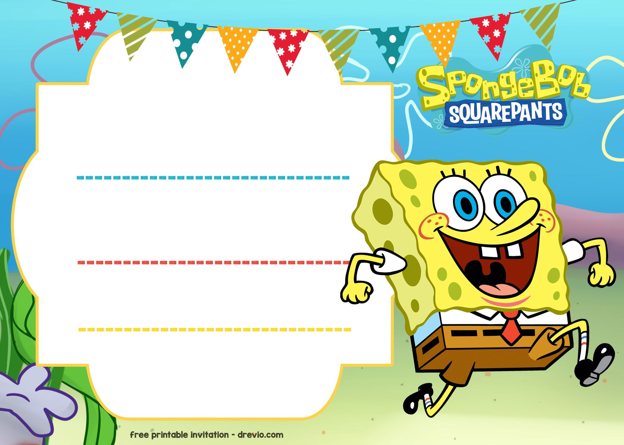 Get FREE Spongebob Birthday Invitation Template