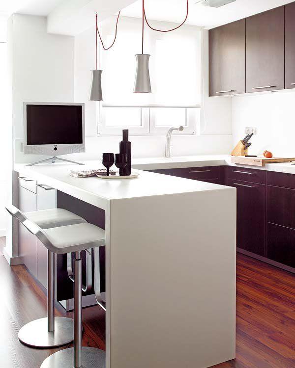 Doce cocinas con barra y sus planos este soy yo for Planos de cocinas de 15 metros cuadrados