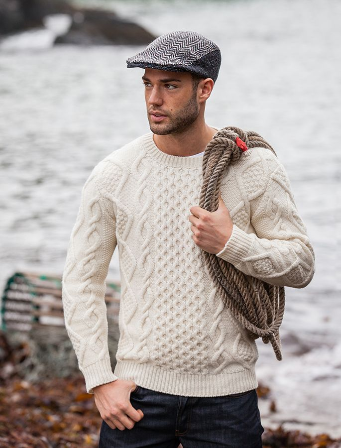 Fisherman Sweater Cable Knit Sweater Men Aran Sweater