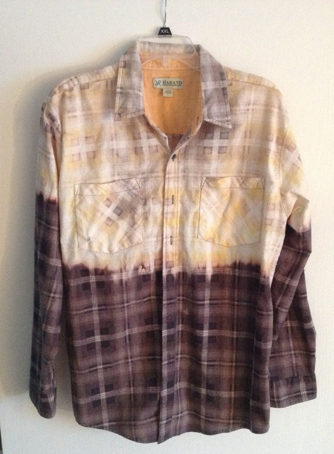 Grunge flannel bleached boyfriend shirt unisex colors for How to wash flannel shirts