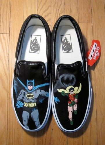 Hand-painted shoes with Batman & Robin design