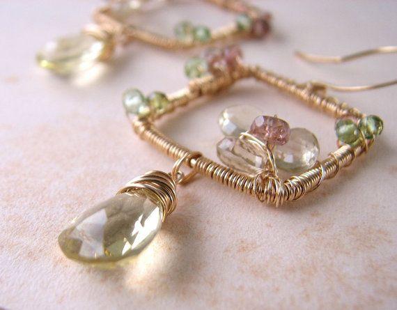 Yellow Gemstone Earrings Pale Yellow Earrings by ... |Light Yellow Gemstone Earrings