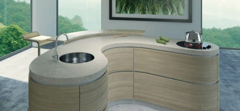 Kücheninsel mit Beton in origineller Form