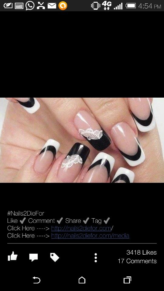 Black and white french tip | Nailed it | Pinterest