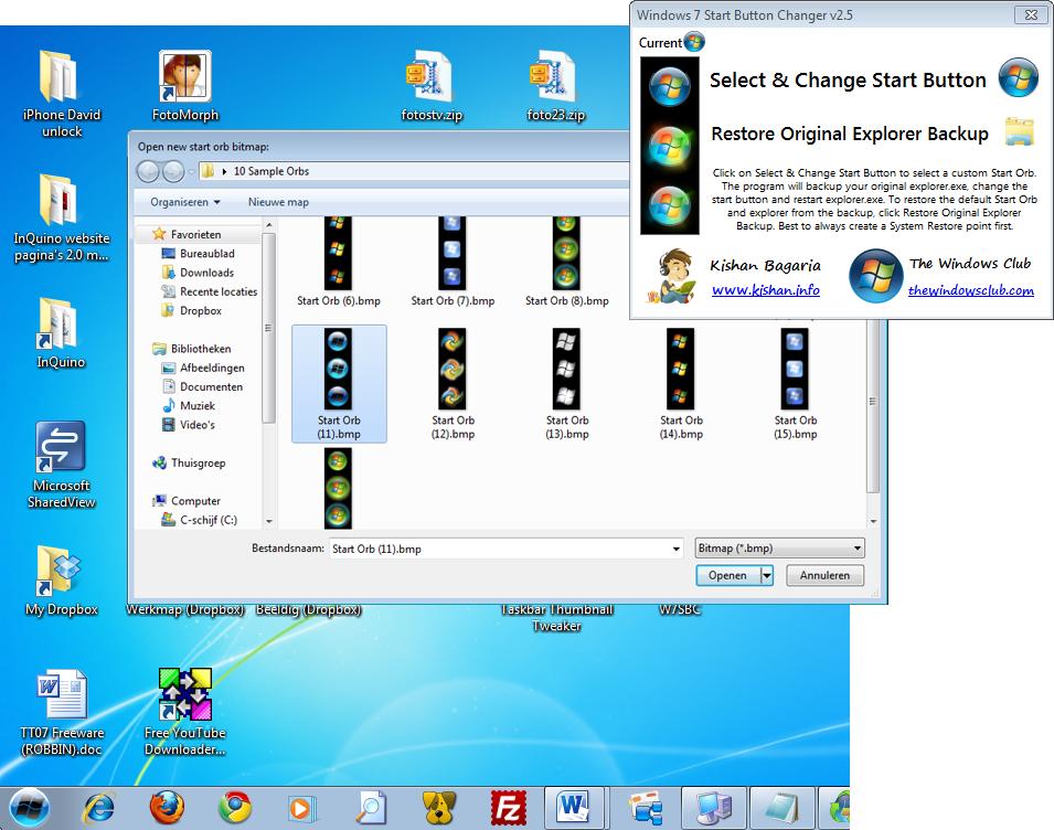 Скачать программу Windows 7 Start ORB Changer на русском