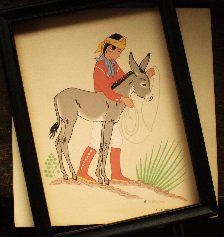 Navajo boy with donkey