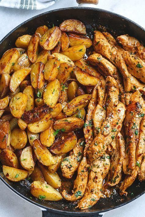 Garlic Butter Chicken and Potato Skillet  Delicious Food  Coocking