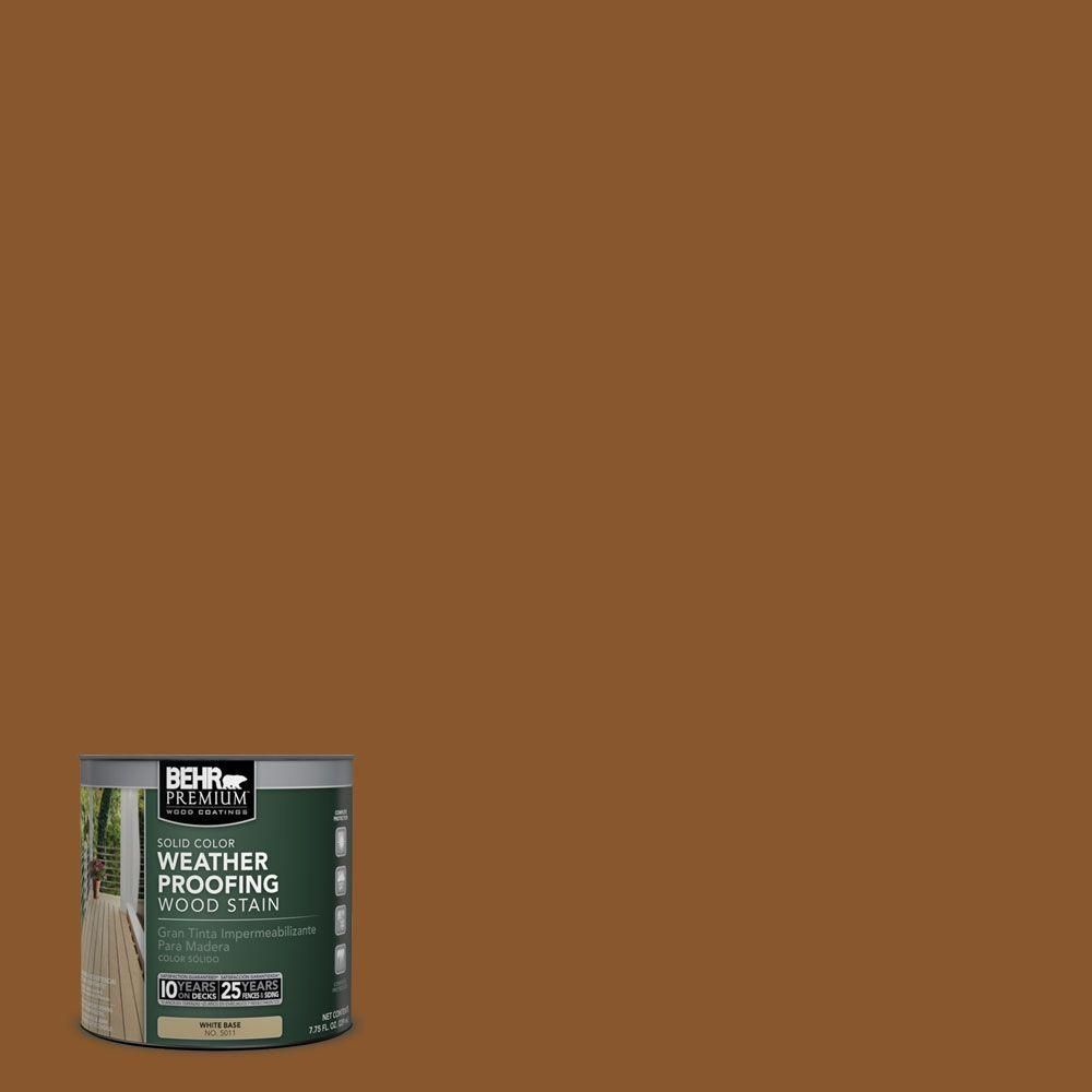 Behr Premium 8 Oz Sc115 Antique Br Solid Color Weatherproofing All In One Wood Stain And Sealer Sample