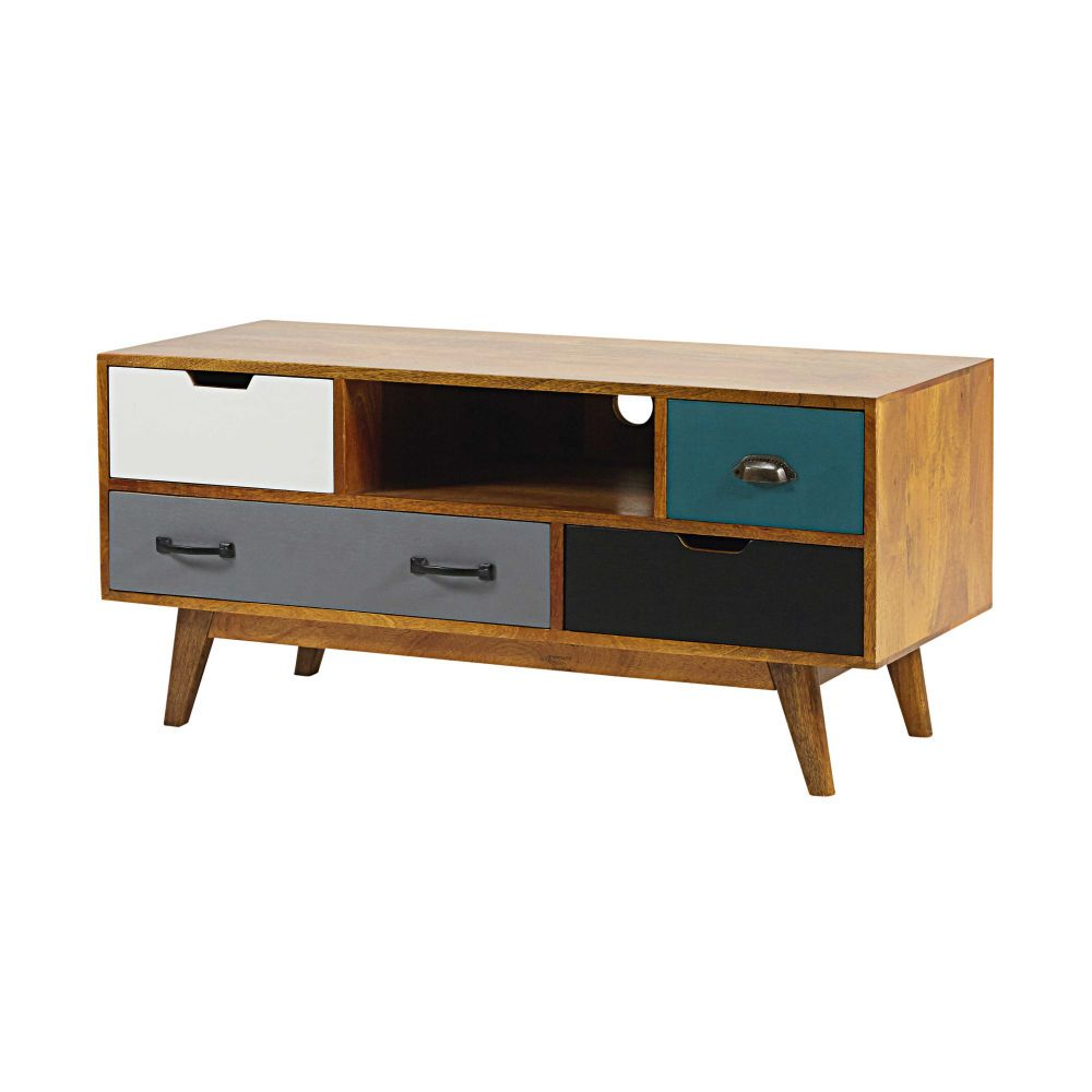 Meuble TV 4 tiroirs en manguier massif | Tv units, Drawers and Woods